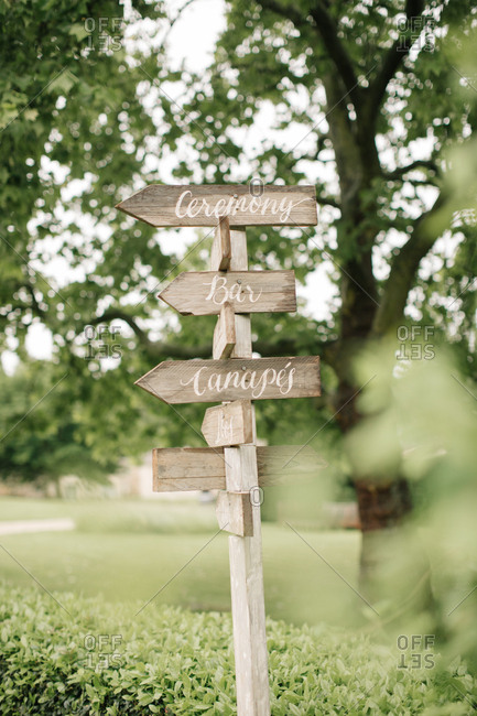 Wooden rustic wedding directional sign
