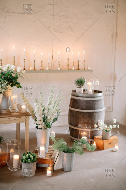 Wedding decor with flowers and a wine barrel