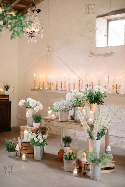Flowers and wooden crates at a wedding ceremony