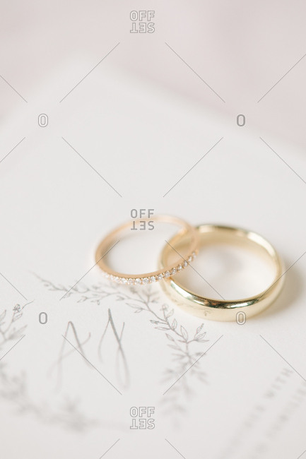 Close up of two gold wedding rings