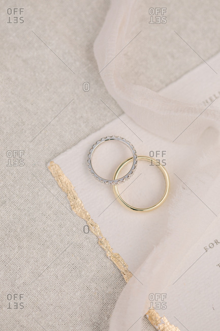 Close up of two wedding rings