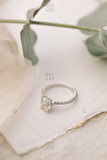 Engagement ring with large diamond