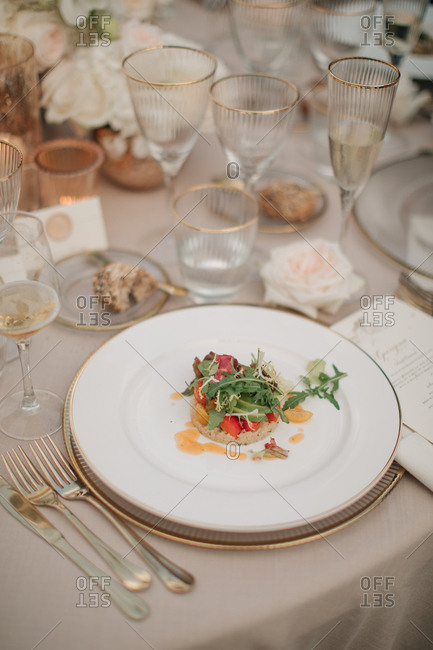 Meal served at a wedding
