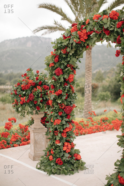 Wedding arch with red flowers at an outdoor ceremony