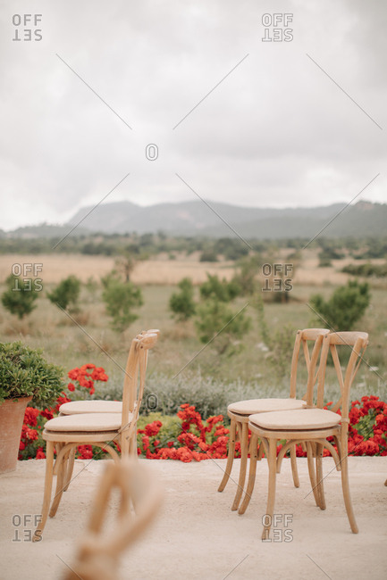 Chairs at an outdoor wedding ceremony