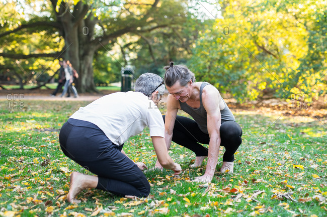 Senior couple practicing yoga in park
