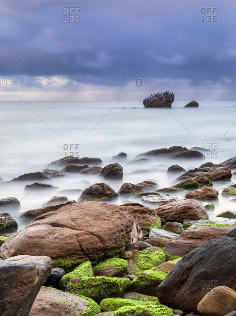 Mossy foreshore and rocks with stormy skies