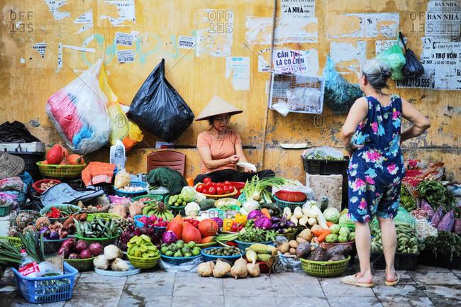 Hanoi, VIETNAM - September 13, 2017 : Hanoi Vegetable Seller at old quarter