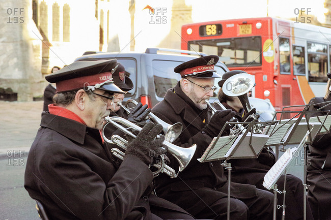 Cirencester, ENGLAND - December 13, 2014 : Salvation Army Brass Band playing outdoors