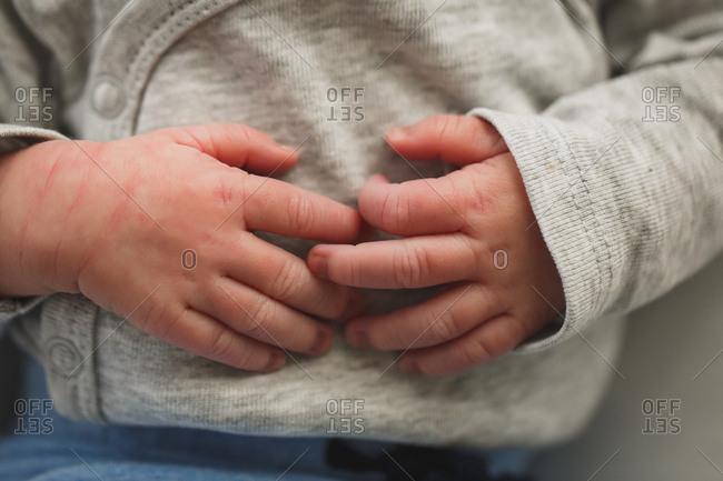 Close-up of newborn baby's hands