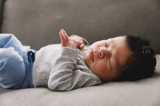 Portrait of sleeping newborn baby boy