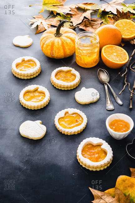 Halloween pumpkin cookies with orange jam