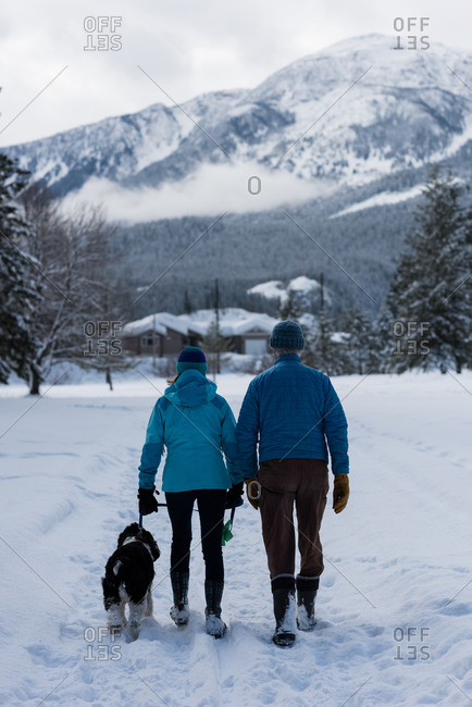 Rear view of couple with dog walking on snow landscape