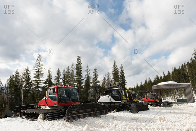 Modern snowplow truck in snowy season
