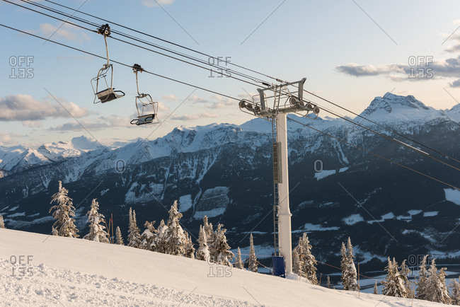 Overhead cable car on a alpine during winter
