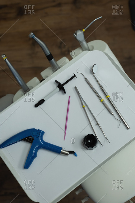 Close-up of dental tools in tray at clinic