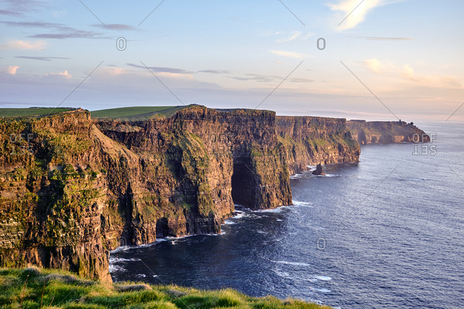 Cliffs of Moher near Doolin at sunset, County Clare, Ireland, Europe, 2018