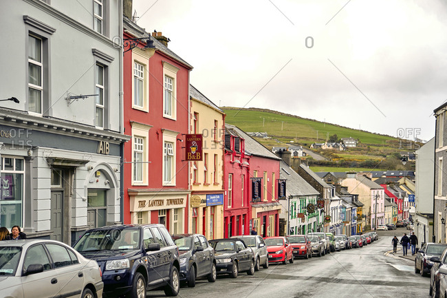 April 7, 2018: Pubs of main street downtown Dingle, co. kerry, Ireland, Europe