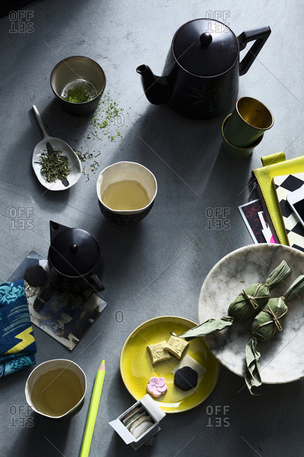 Tablescape with matcha green tea and Japanese treats