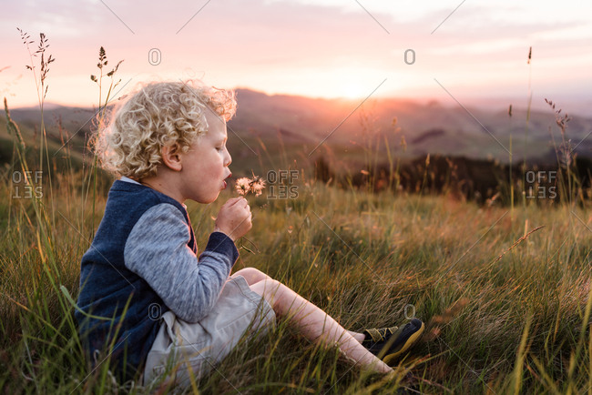 Young boy blowing a dandelion flower