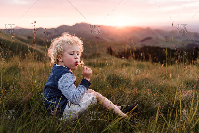 Young boy with a dandelion flower