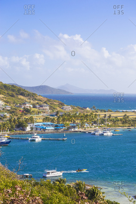 February 11, 2018: View of Clifton Harbour, Union Island, The Grenadines, St. Vincent and The Grenadines, West Indies, Carribean, Central America