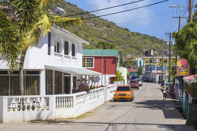February 14, 2018: The main street in Clifton, Union Island, The Grenadines, St. Vincent and The Grenadines, West Indies, Caribbean, Central America