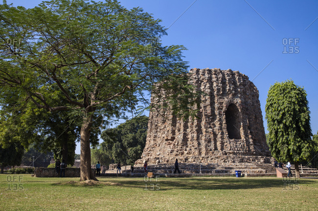 November 27, 2012: Qutub Minar, Atai Minor, an incomplete tower originally intended to be twice as high as Qutub Minar, UNESCO World Heritage Site, Delhi, India, Asia