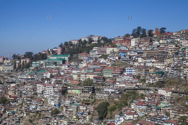 November 2, 2012: View of city center, Shimla (Simla), Himachal Pradesh, India, Asia