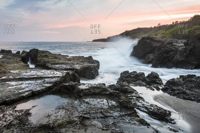 Montezuma Beach at sunset, Nicoya Peninsula, Puntarenas, Costa Rica, Central America