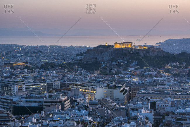 September 17, 2017: View over Athens and The Acropolis at sunset from Likavitos Hill, Athens, Attica Region, Greece, Europe