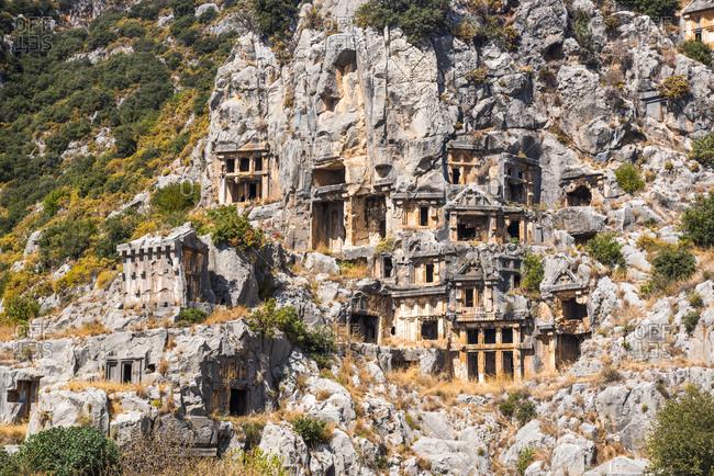 Myra Rock Tombs, ruins of the anceint necropolis, Demre, Antalya Province, Lycia, Anatolia, Turkey, Asia Minor, Eurasia