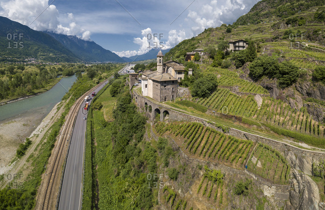 Aerial view of Torre della Sassella and vineyards, Sondrio province, Lombardy, Italy, Europe