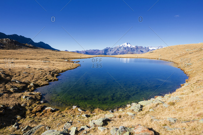 Clear water of lakes of Campagneda with Monte Disgrazia in background, Valmalenco, Valtellina, Sondrio province, Lombardy, Italy, Europe
