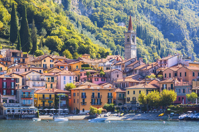 July 23, 2018: The iconic village of Varenna on the shore of Lake Como, Lecco province, Lombardy, Italian Lakes, Italy, Europe
