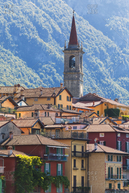 July 23, 2018: Old town and bell tower, Varenna, Lake Como, Lecco province, Lombardy, Italian Lakes, Italy, Europe