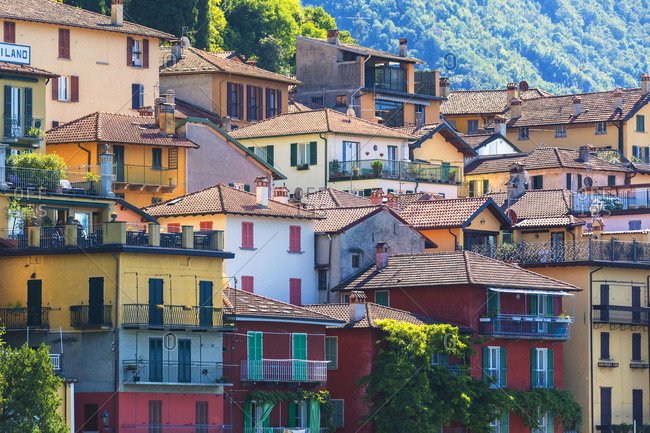 July 23, 2018: Typical architecture of colorful houses, Varenna, Lake Como, Lecco province, Lombardy, Italian Lakes, Italy, Europe