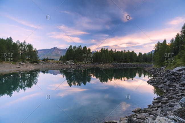 Lago Azzurro at sunrise, Spluga Valley, Sondrio province, Valtellina, Lombardy, Italy, Europe