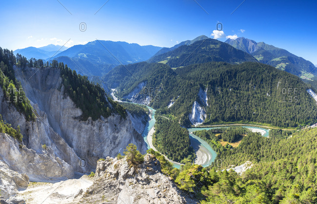 Panoramic view of Rhine Gorge (Ruinaulta), Flims, District of Imboden, Canton of Grisons (Graubunden), Switzerland, Europe