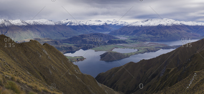 Panoramic view of Mount Aspiring and mountain range from the Roys Peak near Wanaka, Otago, South Island, New Zealand, Pacific