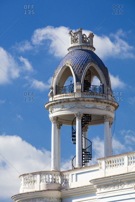 Winding stairway on roof of old building in the centre of Cienfuegos, UNESCO World Heritage Site, Cuba, West Indies, Caribbean, Central America