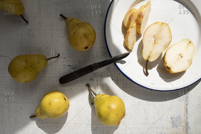 Cut pears on a plate