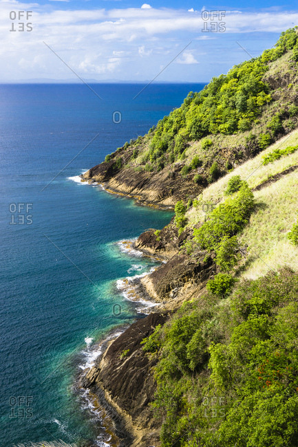 View on the Pigeon Island National Park and Rodney Bay, Sainte-Lucia, West Indies