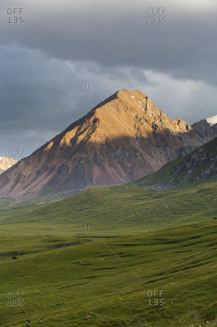 Tian shan Mountains around Lake Kol Ukok at dusk, Kochkor, Kyrgyzstan