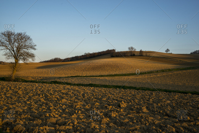 France, Occitanie, Lauragais, Haute Garonne, plowed fields