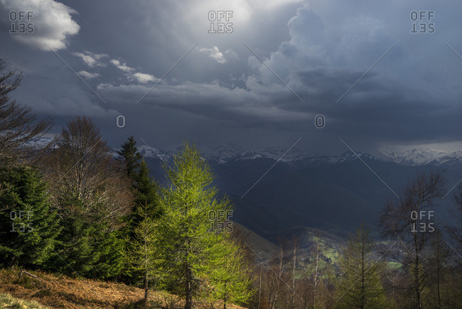 France, Ariege, view over Pyrenees Mountains from Col de la Crouzette, thunderstorm