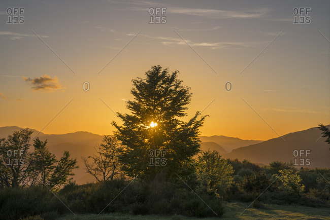 France, Ariege, Sunset at Signal de Chioula