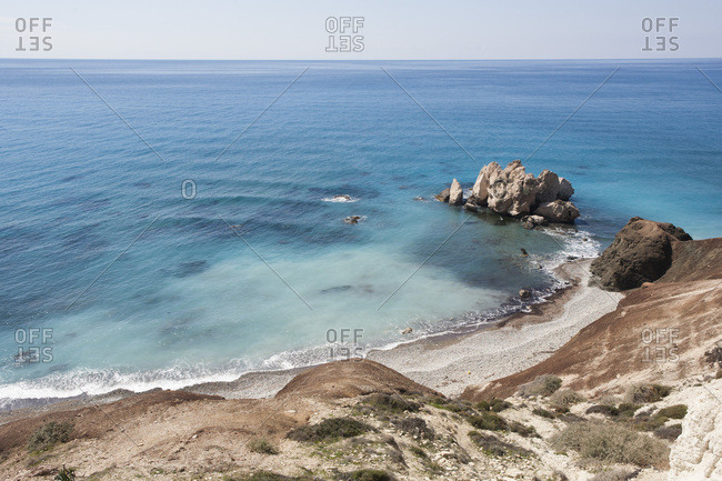 Looking down to Aphrodite's Rock and Beach, seafront, Petra Tou Roumiou, Paphos, Cyprus