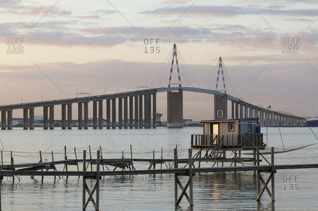 France, mouth of the Loire, Saint-Nazaire bridge and fisheries.