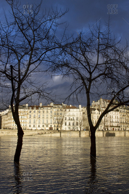 France, Paris, the Seine flooding on 26 January 2018.